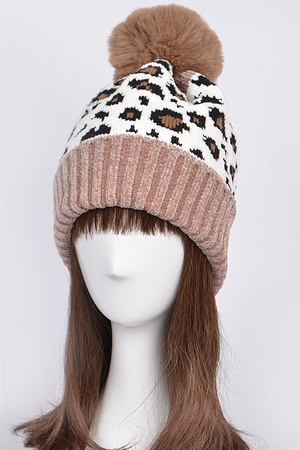 Adjustable Leopard Print Beanie With Puff Ball