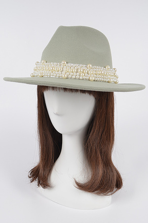 Fedora Hat W/Multi Size Pearls Band.