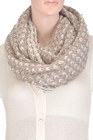 Criss Cross Patterned Infinity Scarf