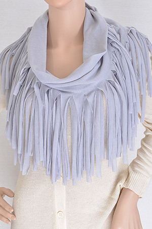 Cutout End Fringe Made Infinity Scarf..