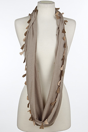 Tiny Two Tone Tassel Attached Infinity Scarf