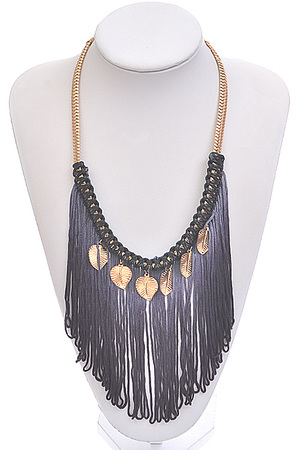 Fringed with leaf pendants necklace