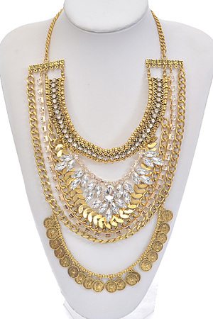 Chain Exposed Rhinestone Statement Necklace