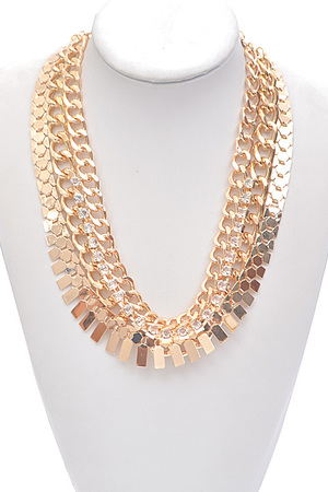 Three Chain Layered Rhinestone Detailed Necklace
