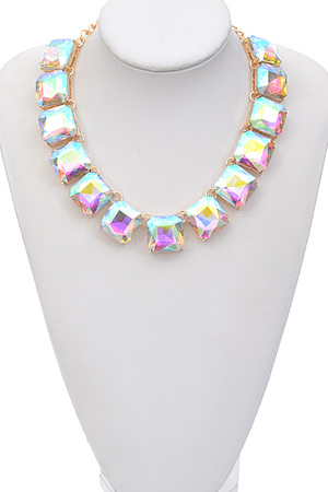 Three Dimensional Square Stone Necklace