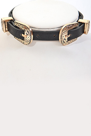 Buckle Belt Inspired Choker Necklace