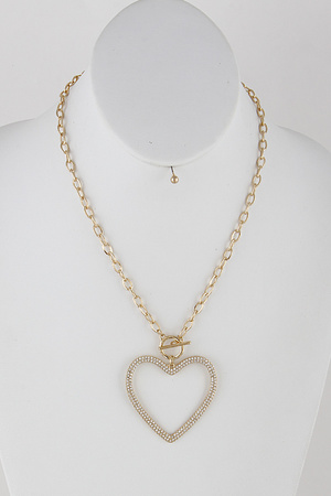 Chain Link Heart Necklace 9ICA1