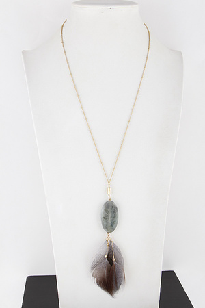 Feather and Stone Necklace 9JAC8