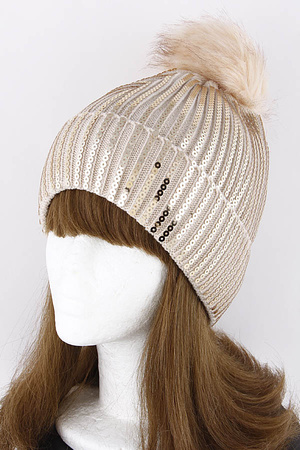 Sequins Beanie With Puff Ball 9ICA