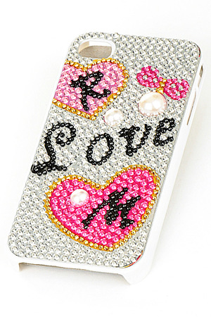 Rhinestone with pearl accent love iphone 4/4s case-spk-dalb1