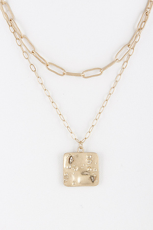 Double Chain Layered Necklace With Square Detail 9BCC10