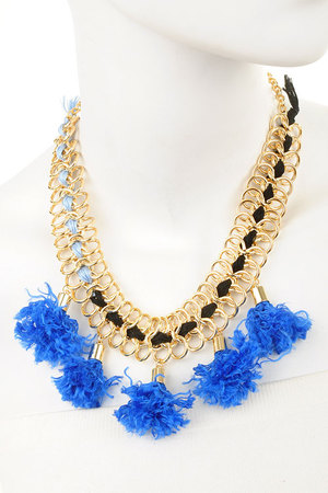 Chain Twine Tassel statement necklace-bl-dcc3