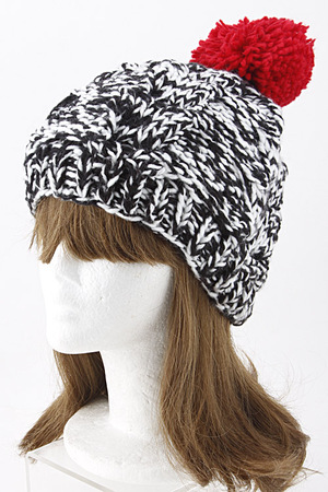 Two Color Bell -Trim Pom Beanie 5IBG