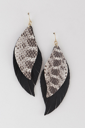 Layered Leather Drop Earrings
