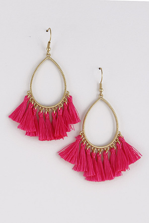 Metallic Teardrop Open Cut Earrings With Tassels 8FBB4