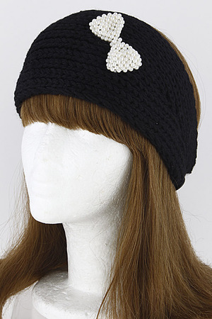 Knitted Inspired Faux Pearl Ribbon Head Band 6JBA