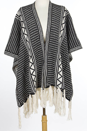 Intricate Patterned Fall Inspired Poncho 6IBD