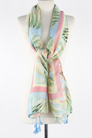 Lined Leaf With Tassel Scarf