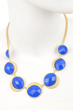 Bubbly circles statement necklace set-3dbh3