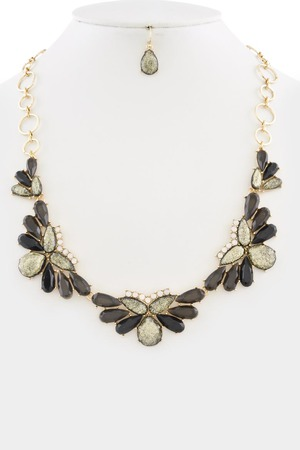 Oval bubble statement necklace 3LAD1