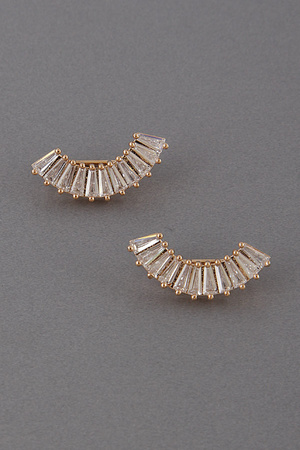 Rhinestone Crescent Stud Earrings 9HBF4
