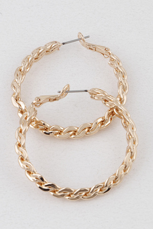 Weaved Metal Hoop Earrings