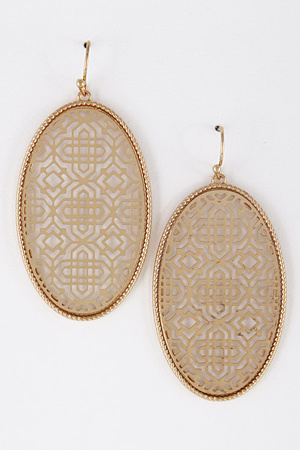 Oval Flat Intricate Pattern Earrings 7LAC5