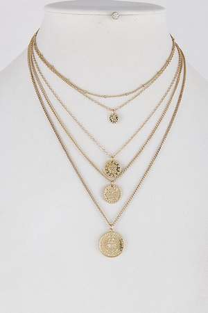 "Layered ""V"" Shape Coins Necklace 8ICA8"