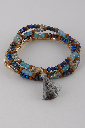 Multi-Beaded Tassel Bracelet 9GCA5.