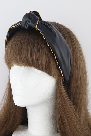 Knotted Zipper Leather Headband