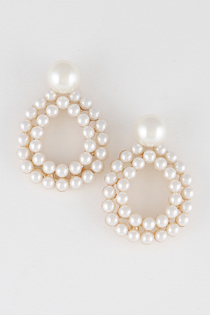 Beaded Open Cut Round Earring