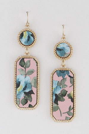 Flower Print Drop Earrings