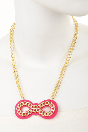 Topped with a Chain Bow necklace set-dcc3