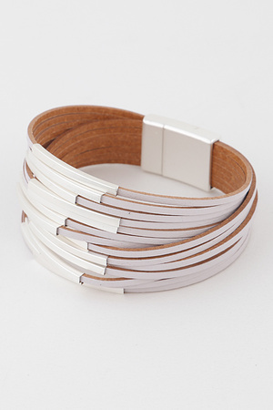 Leather With Magnetic  Bracelet