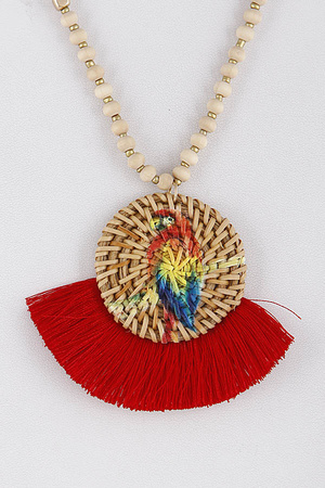 Long Tropical Parrot Tassel Necklace 9ACB7