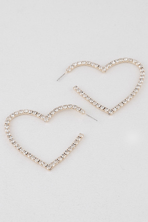 Large Heart Rhinestone Hoop Earrings
