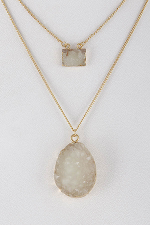 Druzy Stone Layered Necklace 8DAC6