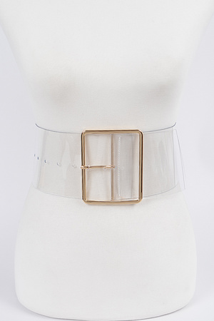Simple Buckle Wide Transparent Plus Size Belt