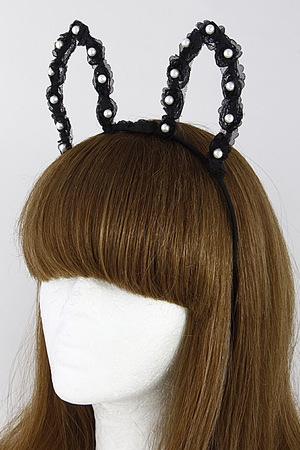 Bunny Inspired Hair Band With Pearls 7DCG