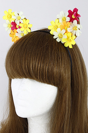 Colorful Cat Ear Hair Band with Flower Details 7DCG