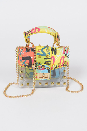 Studded Graffiti Clear Mini Bag.