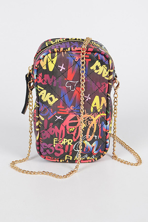 Graffiti Quilted Cellphone Bag
