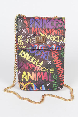 Quilted Bk Multi Graffiti Cellphone Bag