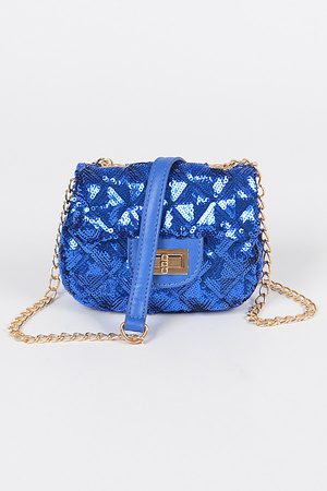 Quilted Shape Sequins Mini Bag