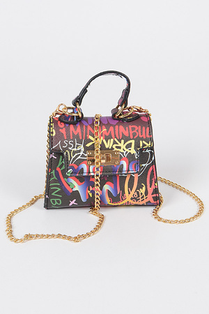 Multi Graffiti Mini Handle Bag
