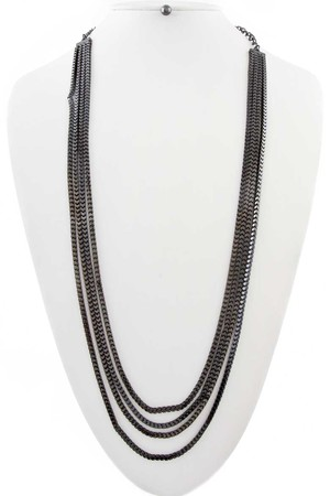 Long thin chains necklace_3KBC16
