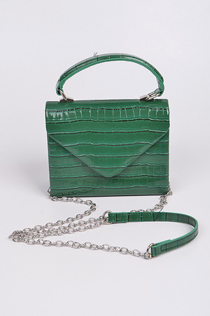 Shine Leather With Cross Chain Body Clutch.