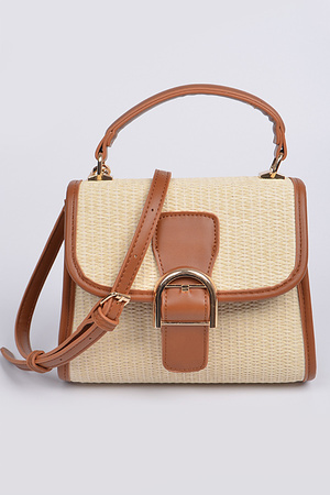 Straw With Side Leather Shoulder Strap Clutch