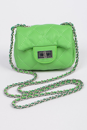 Cross Chain Body Strap Leather Clutch