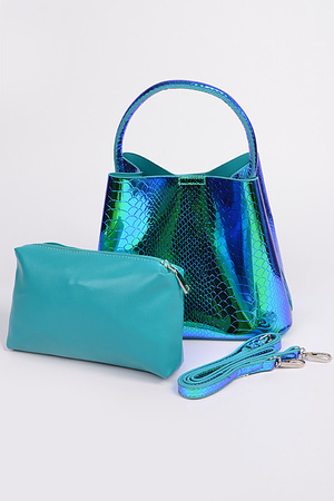 Shine Sneak Skin Shoulder Strap Tote Bag